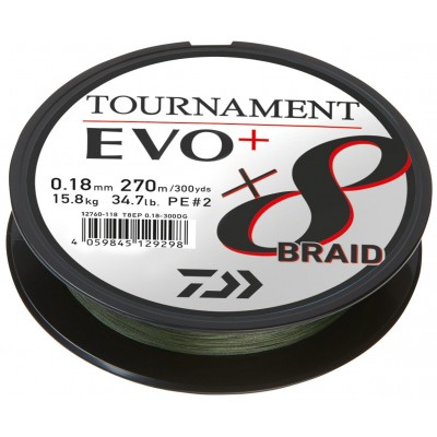 Daiwa Tournament X8 Braid EVO+ dunkelgrün Meterware